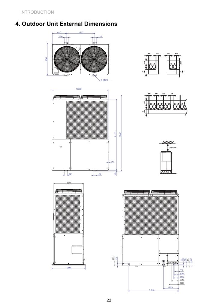 Αντλία Θερμότητας Αερίου - AWGP 16HP Outdoor Unit External Dimensions